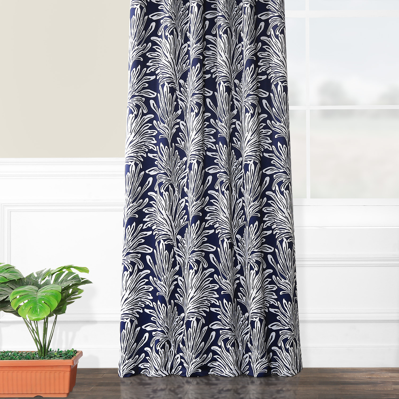 Flora Navy Blackout Curtain