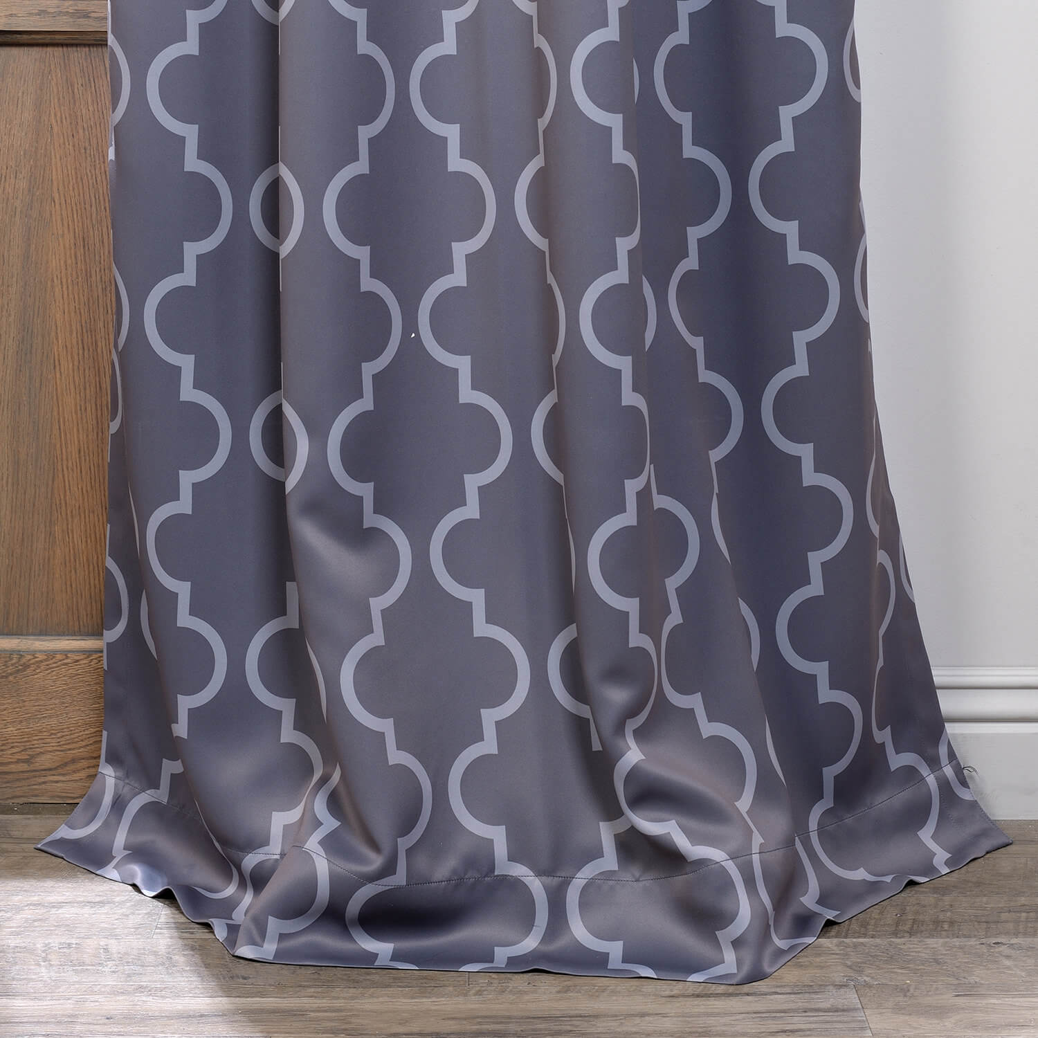 Seville Grey & Silver Grommet Blackout Curtain