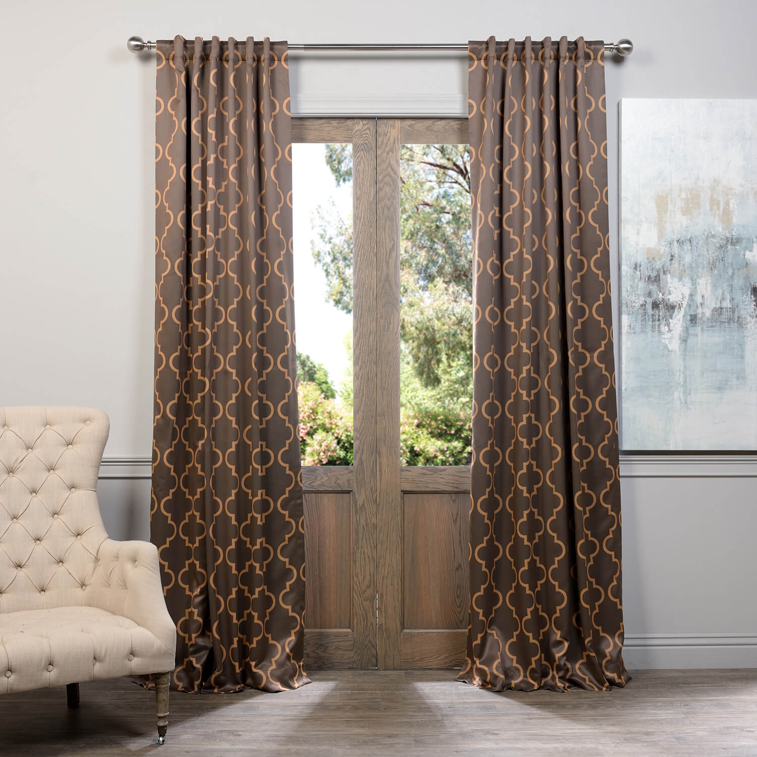 Seville Grey & Gold Blackout Curtain