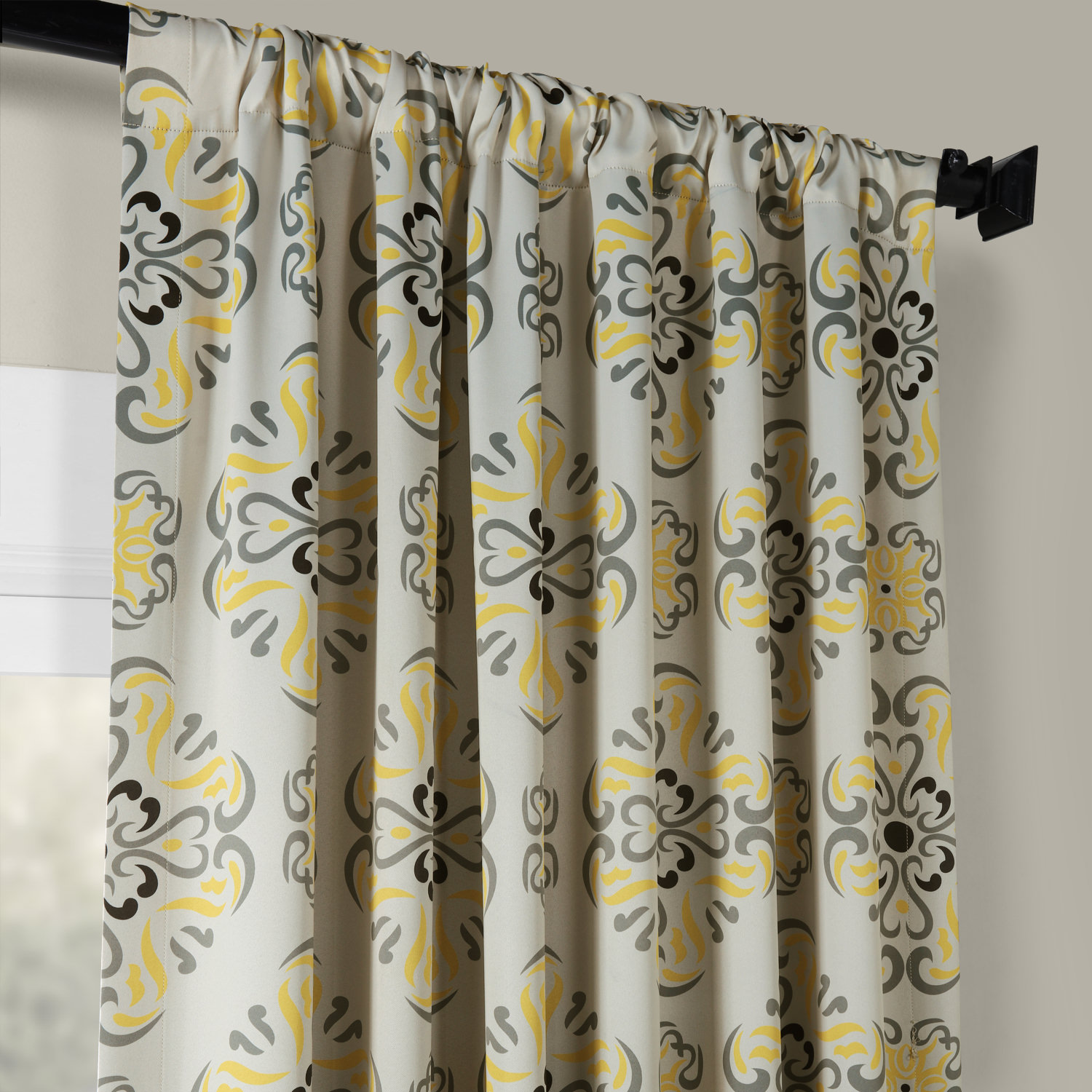 Kitchen Curtains Yellow And Gray: Soliel Yellow Grey Blackout Curtains, Drapes