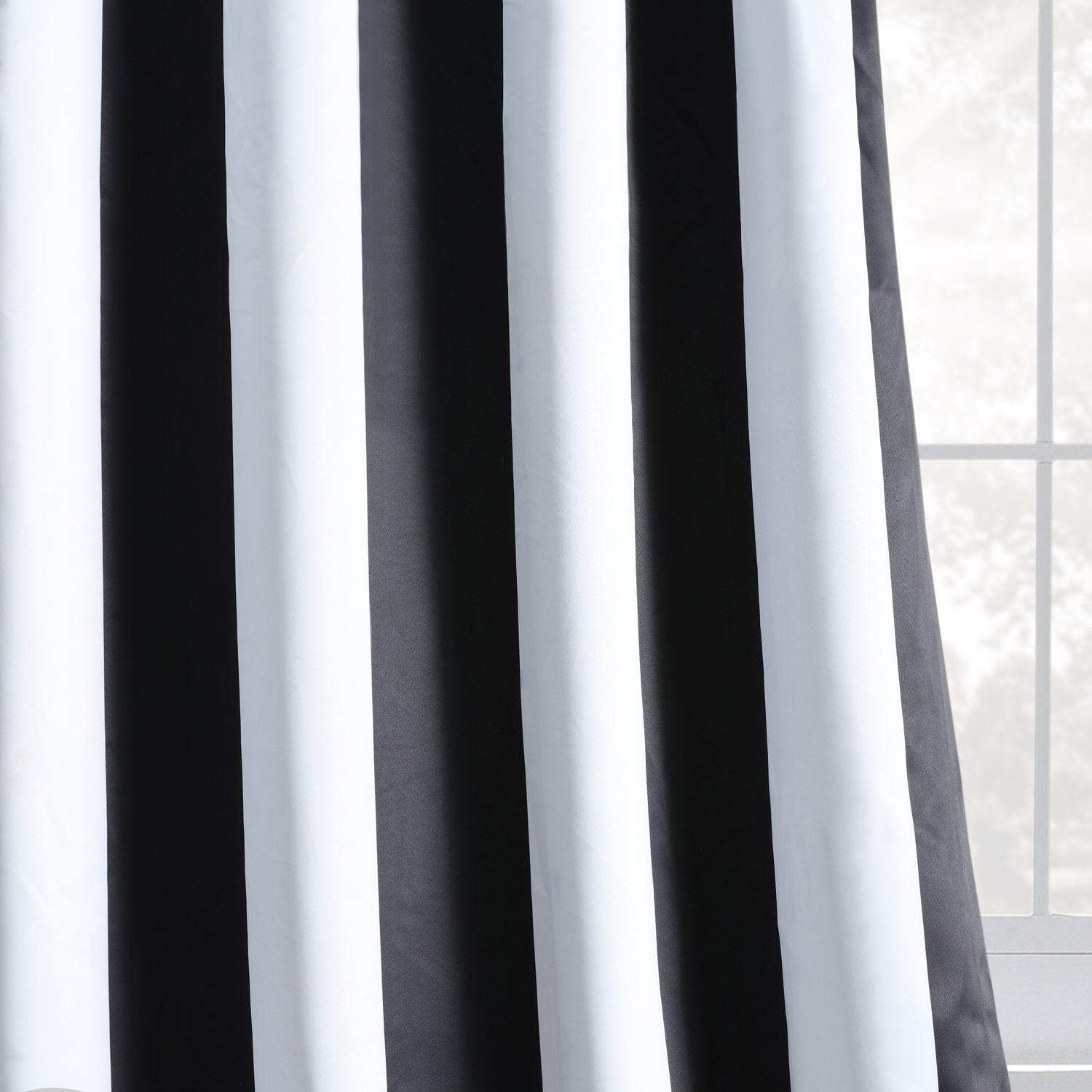 Awning Black & White Stripe Grommet Blackout Curtains