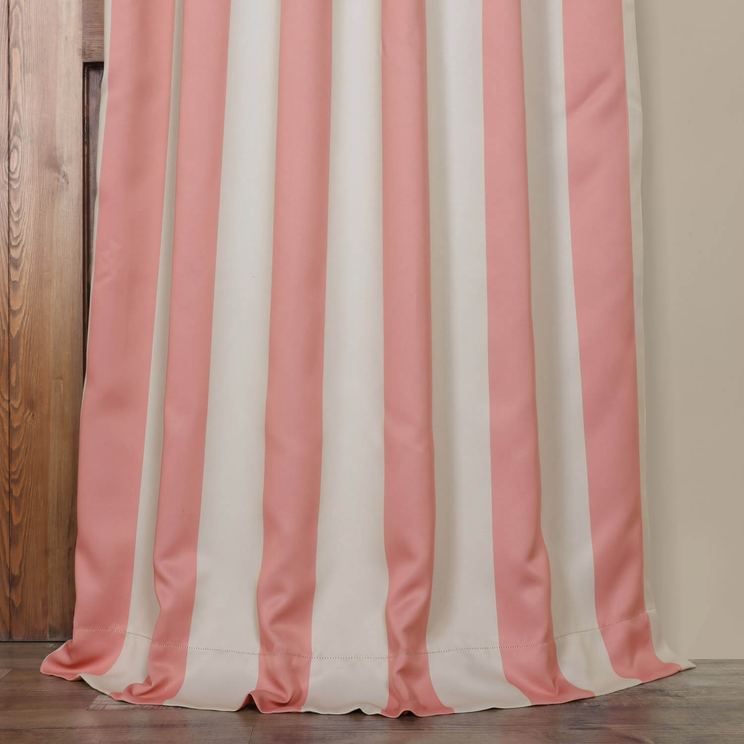 Blush & Cream Striped Blackout Curtain