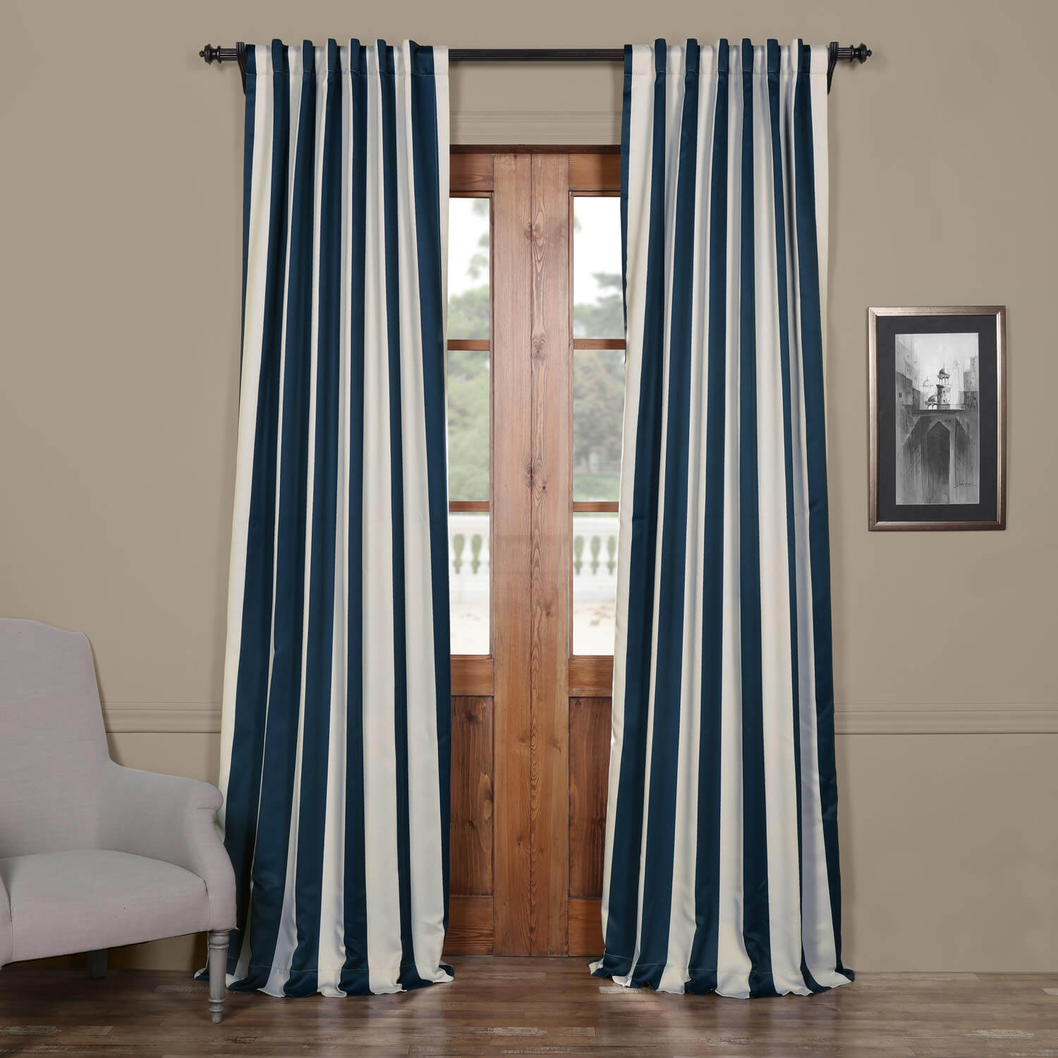 navy cream striped blackout curtain. Black Bedroom Furniture Sets. Home Design Ideas