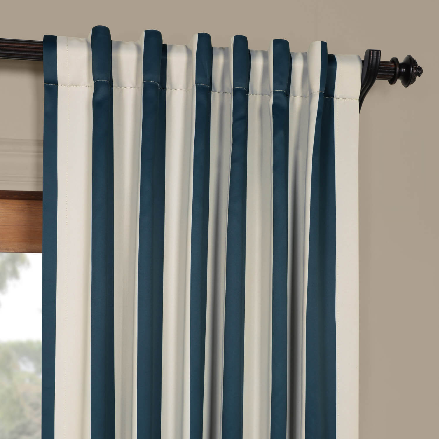 Navy Amp Cream Striped Blackout Curtain