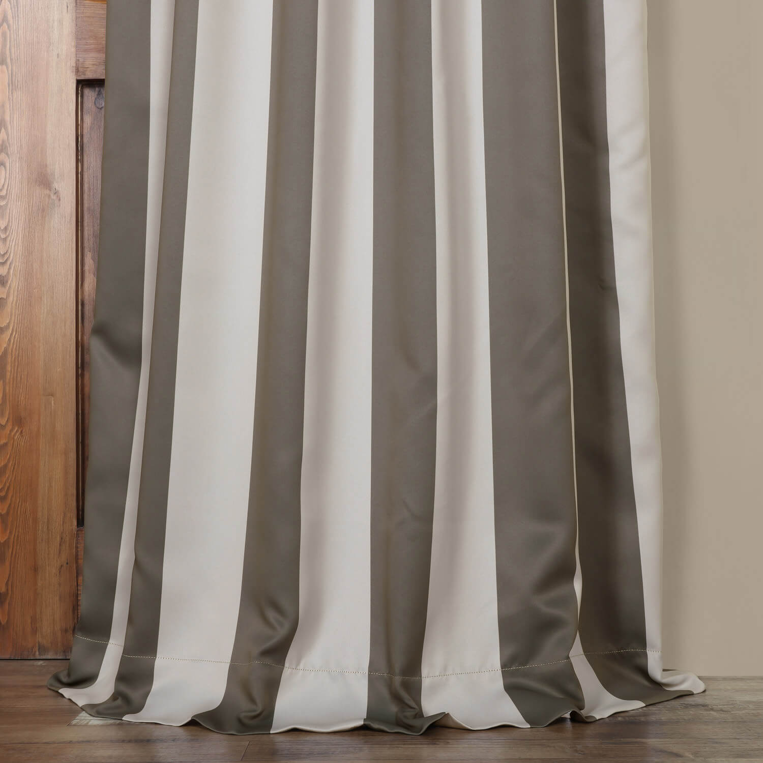 Steel Grey Amp Cream Striped Blackout Curtain