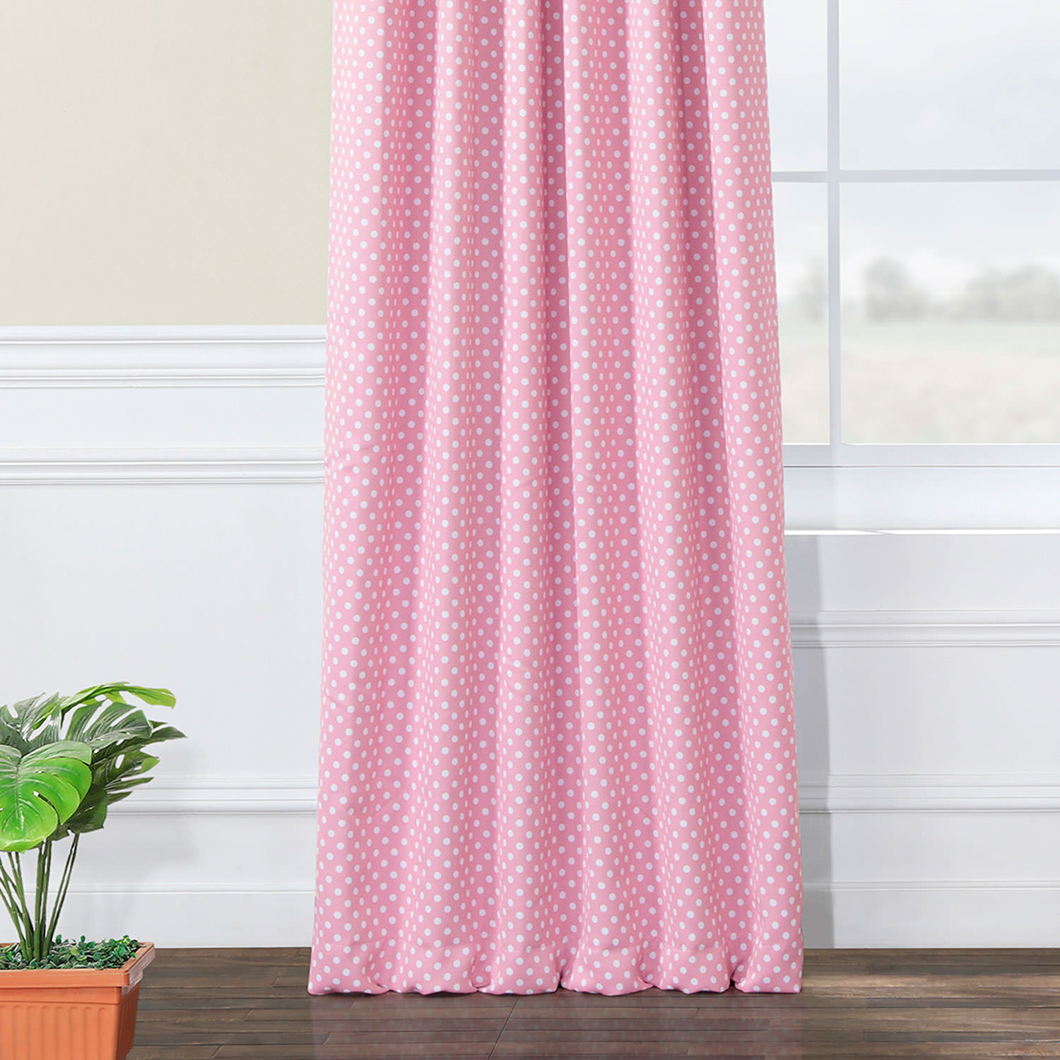 Pink Polka Dot Blackout Back Tab Pole Pocket Curtains