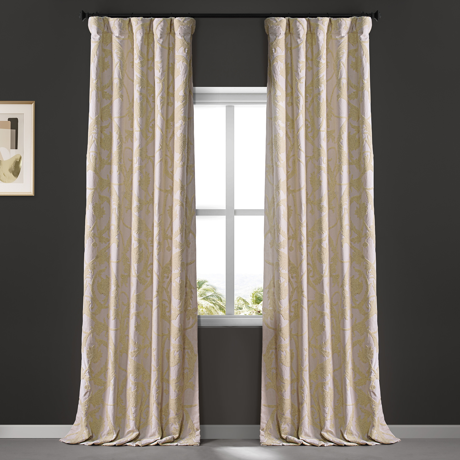 Naomi Embroidered Cotton Crewel Curtain