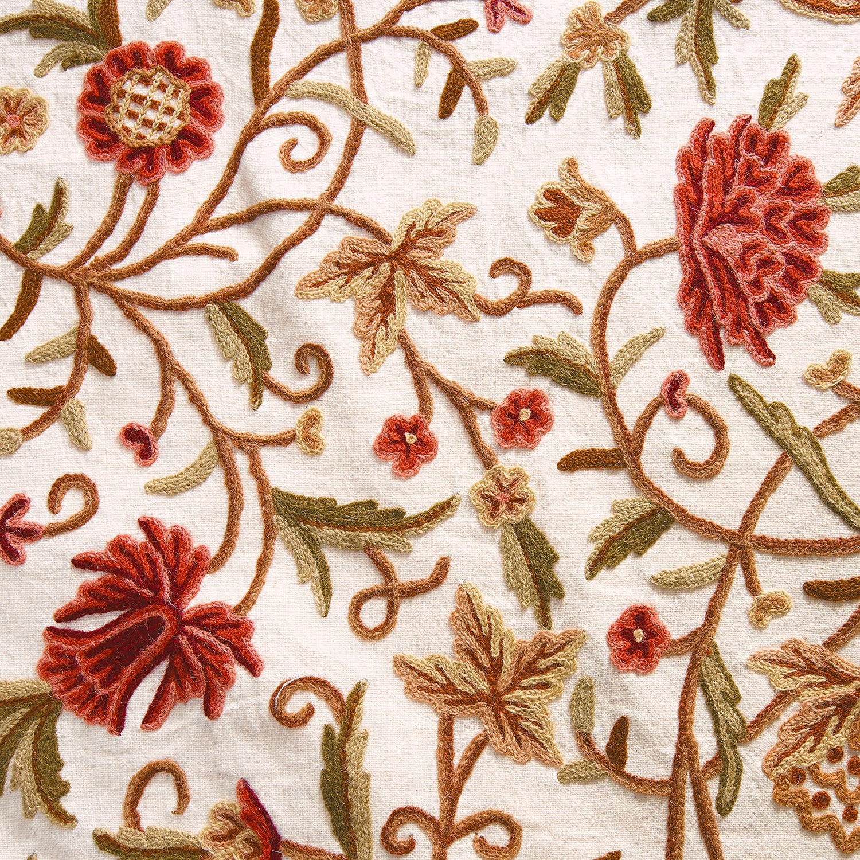 Paloma Embroidered Cotton Crewel Fabric