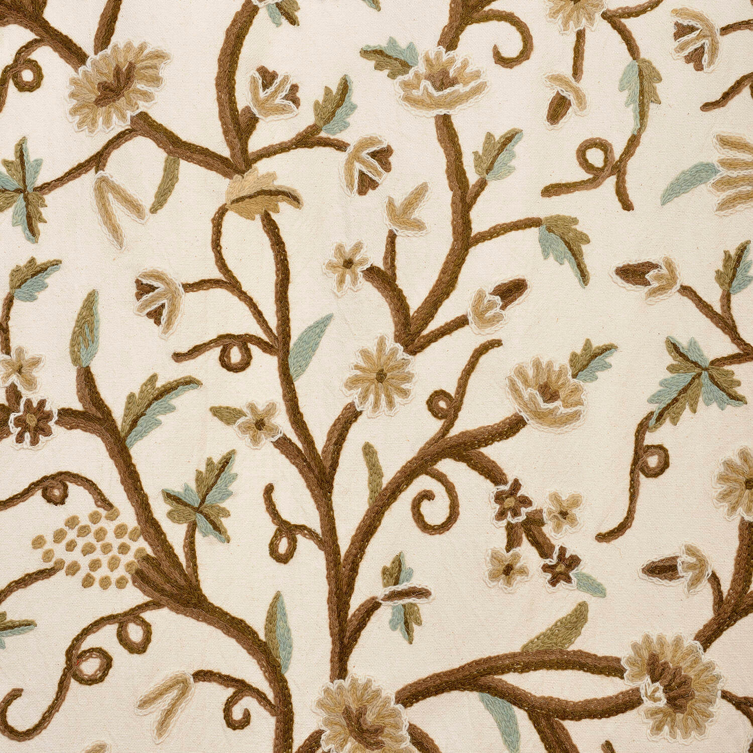 Frances Embroidered Cotton Crewel Fabric