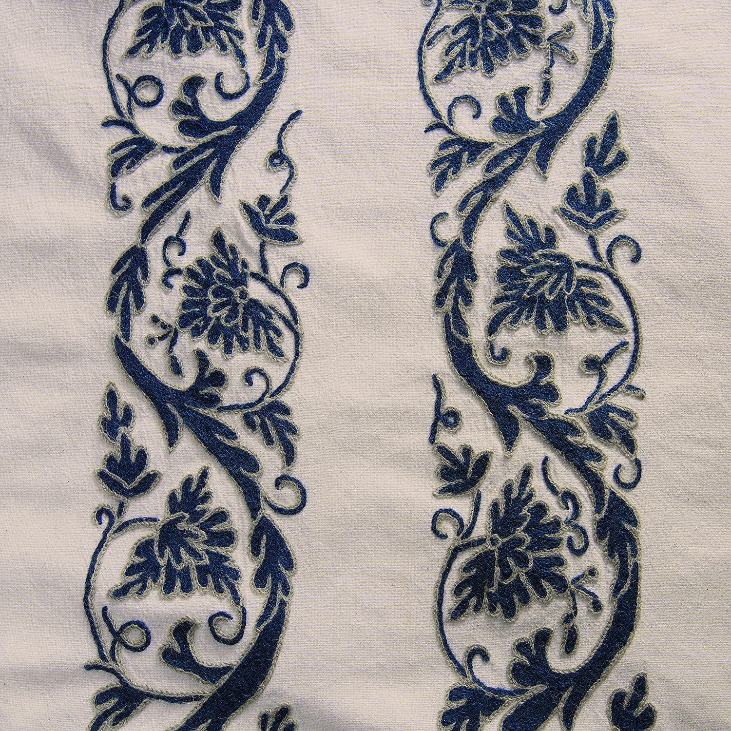 Florence Blue Embroidered Cotton Crewel Fabric