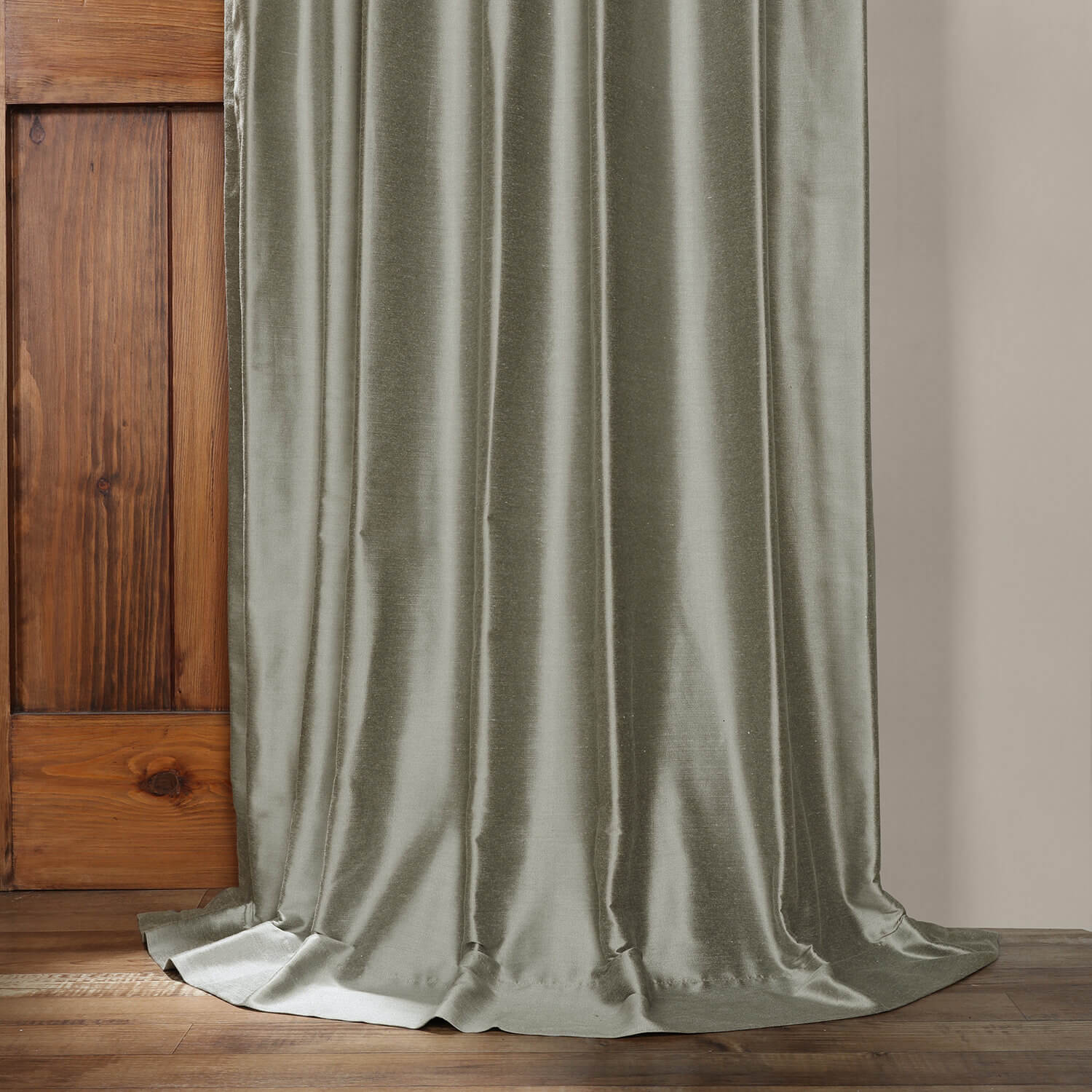 Quarry Blue Cotton Silk Curtain