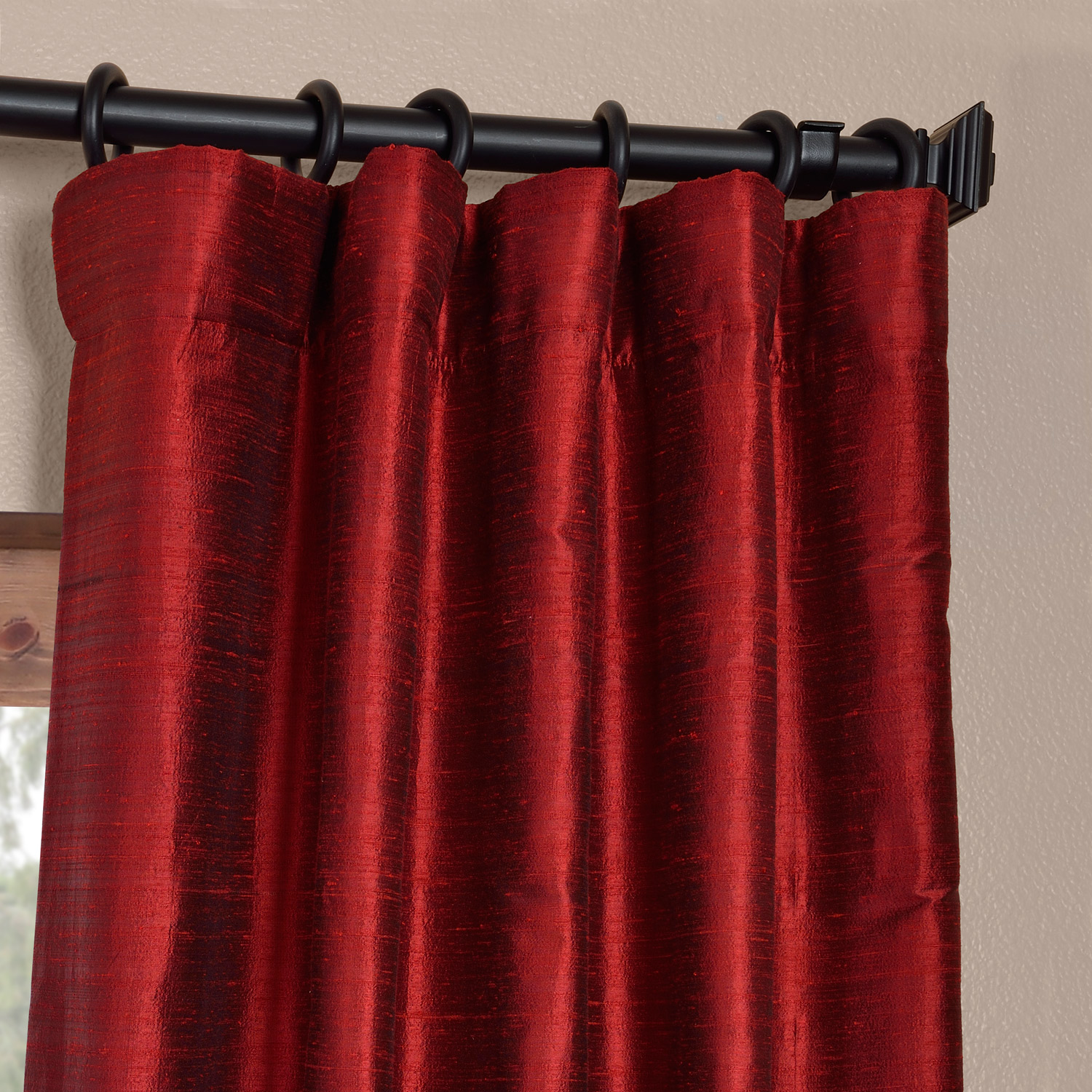 Chili Pepper Red Silk Curtains Half Price Drapes