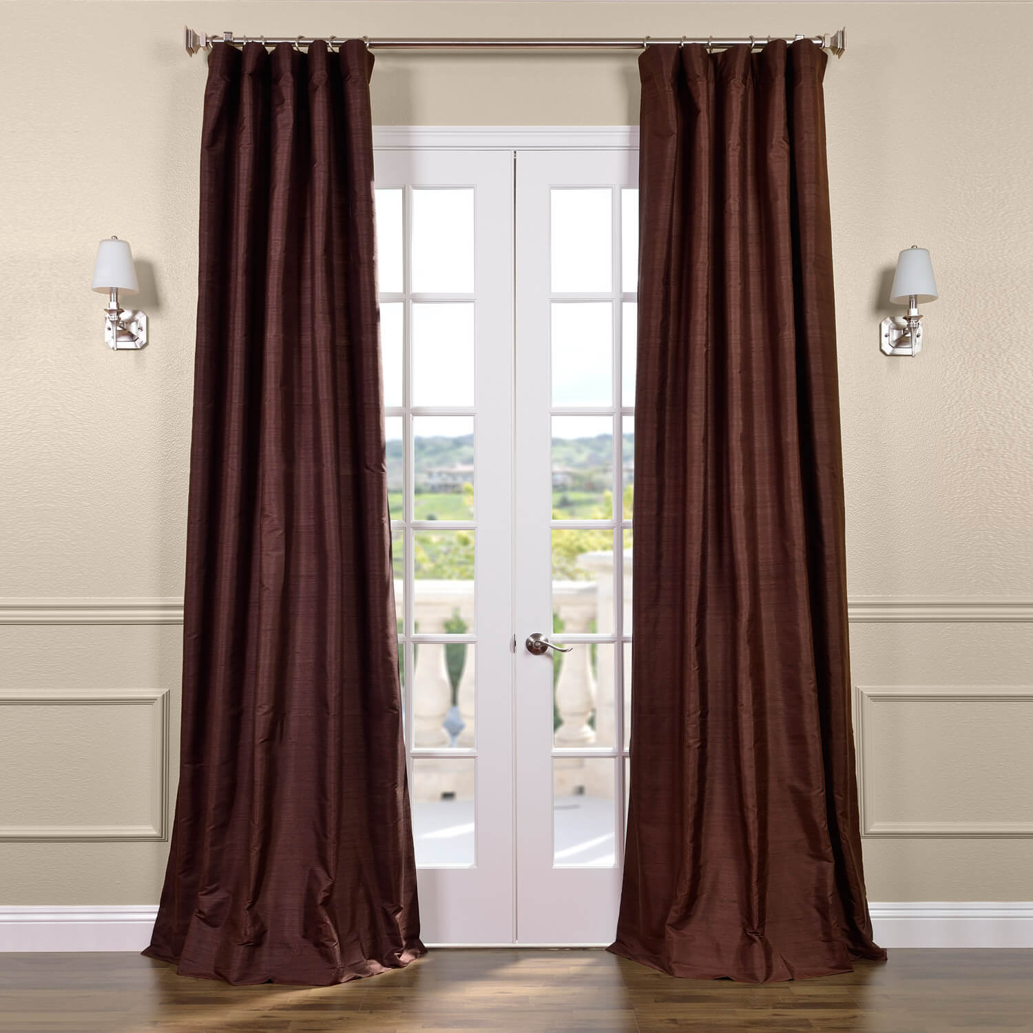 Chocolate Textured Dupioni Silk Curtain
