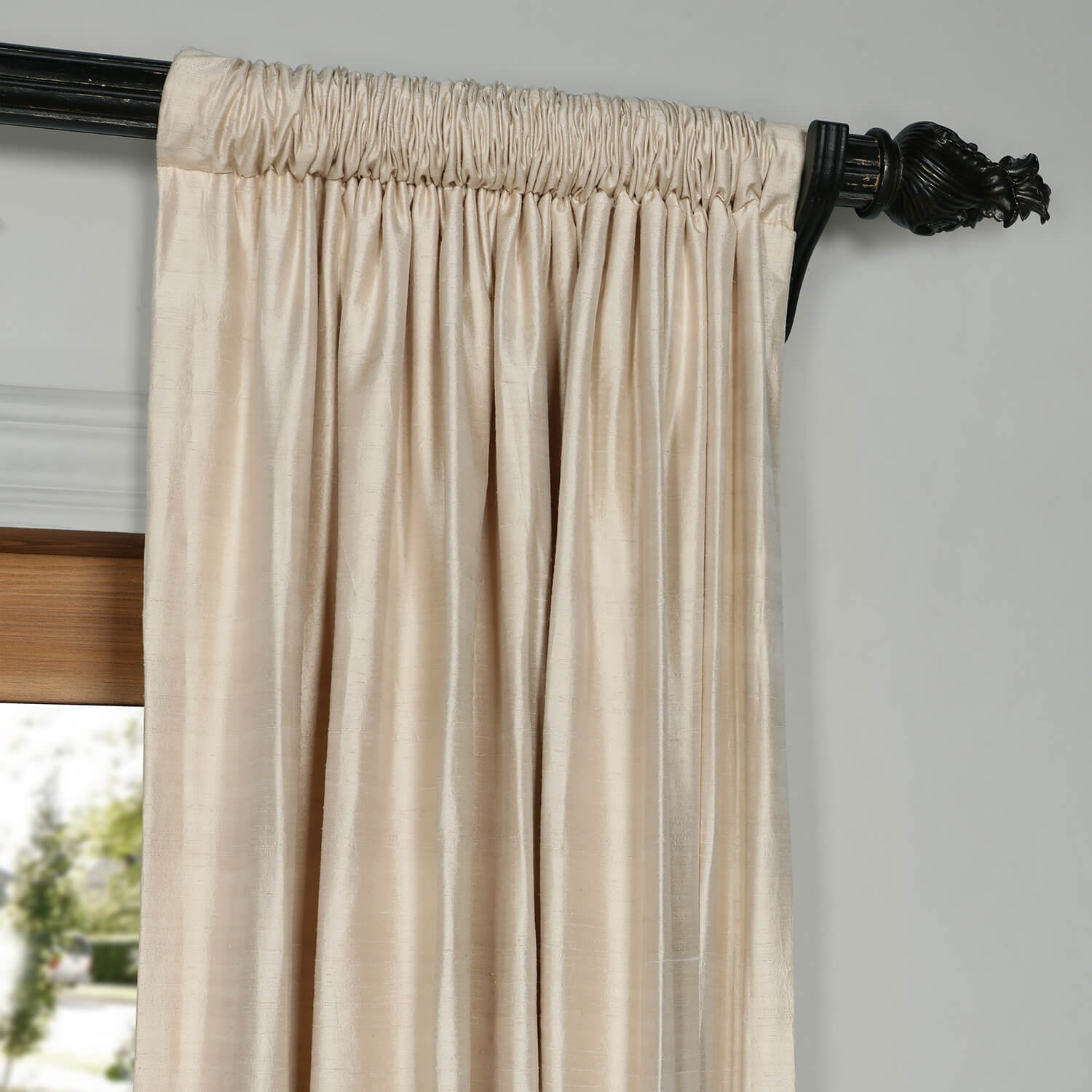 Biscuit Beige Textured Dupioni Silk Curtain