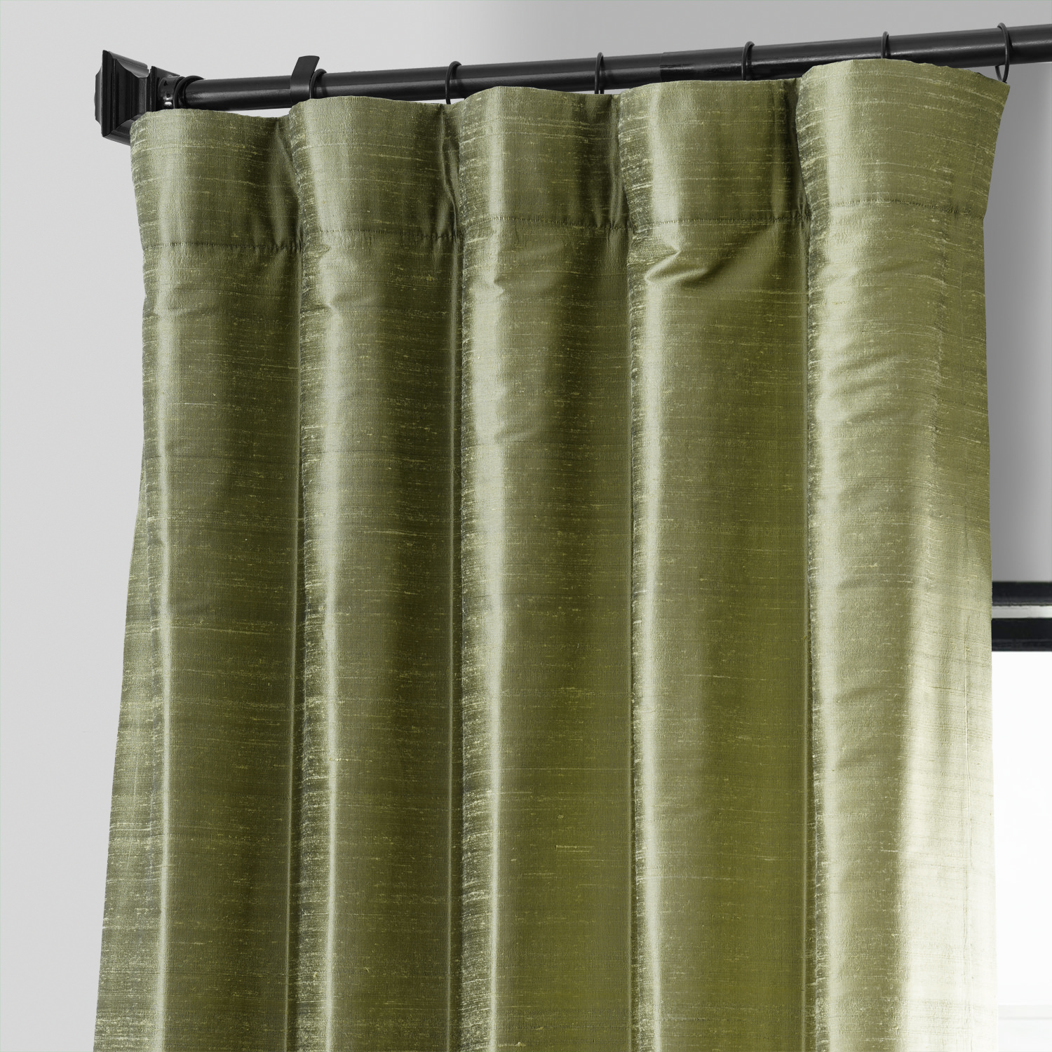 Paradise Green Textured Dupioni Silk Curtain