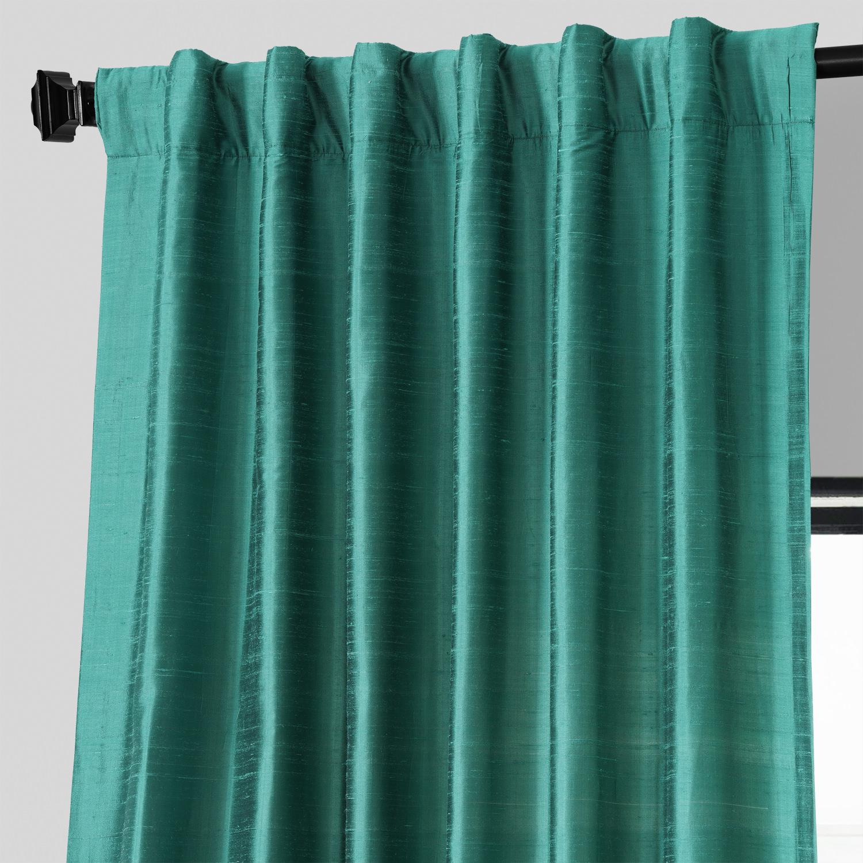 Splashy Turquoise Textured Dupioni Silk Curtain