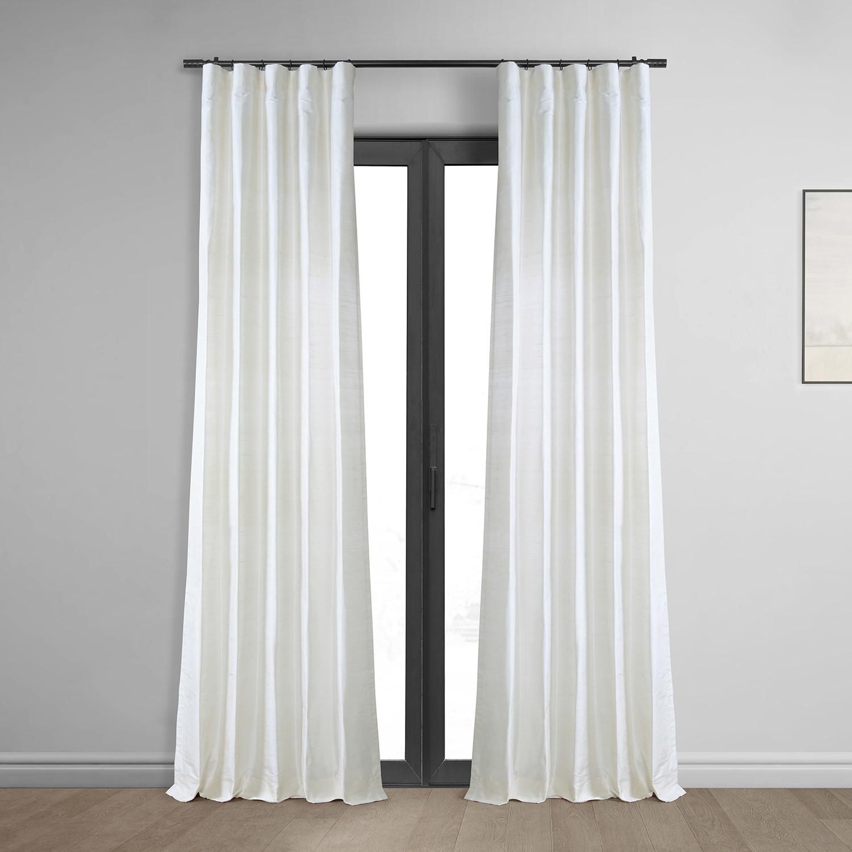 Lily White Textured Dupioni Silk Curtain