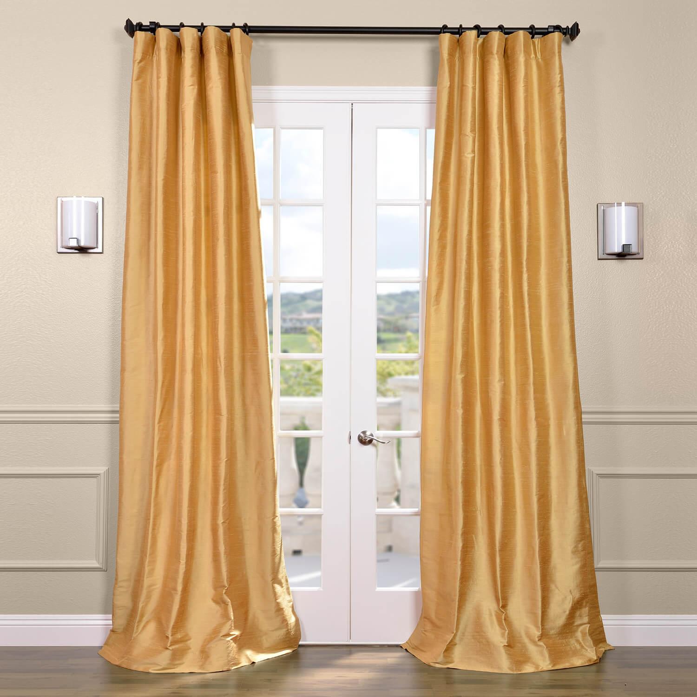 Sunrise Gold Textured Dupioni Silk Curtain