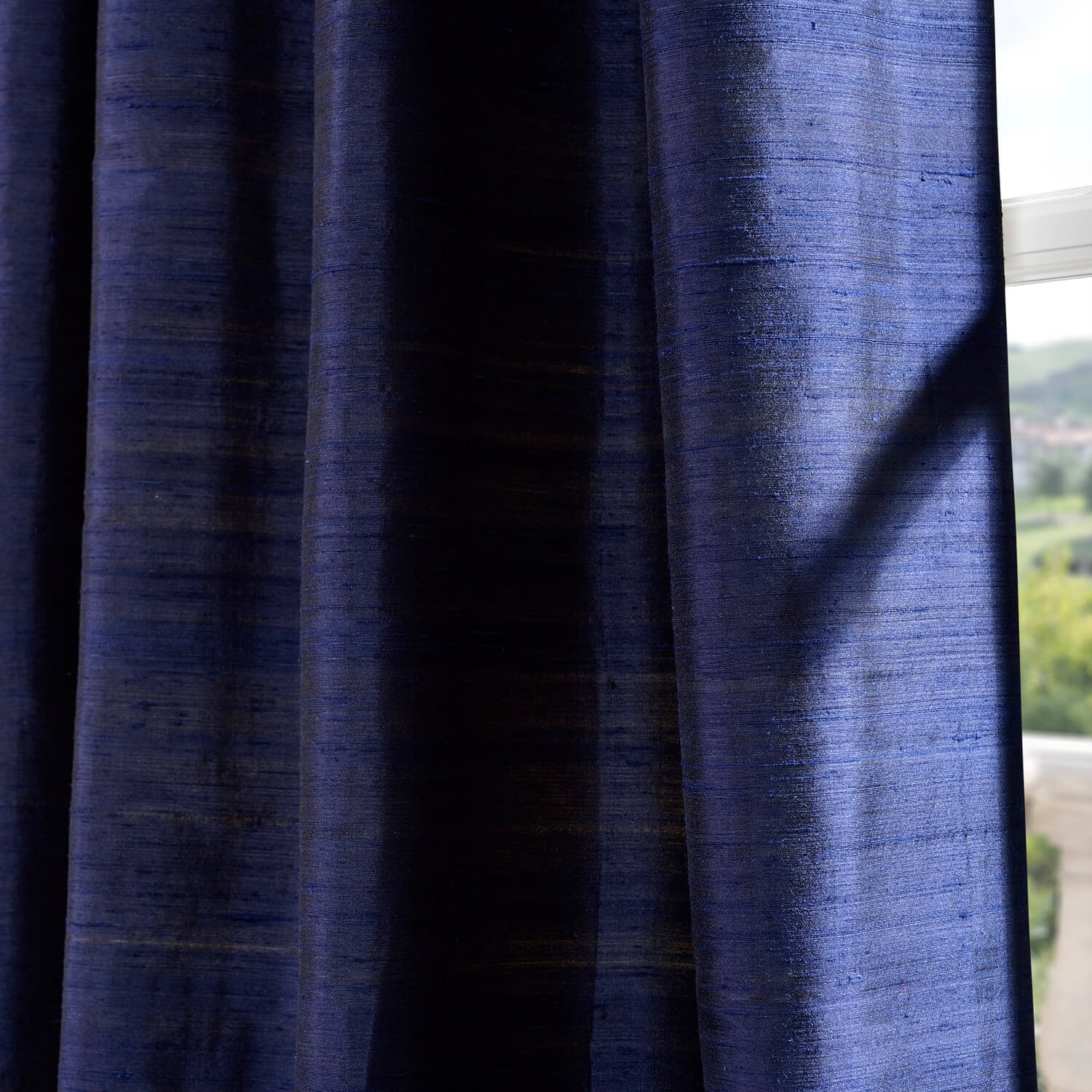Navy Silk Curtains Half Price Drapes