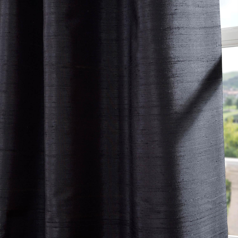 Black Textured Dupioni Silk Swatch
