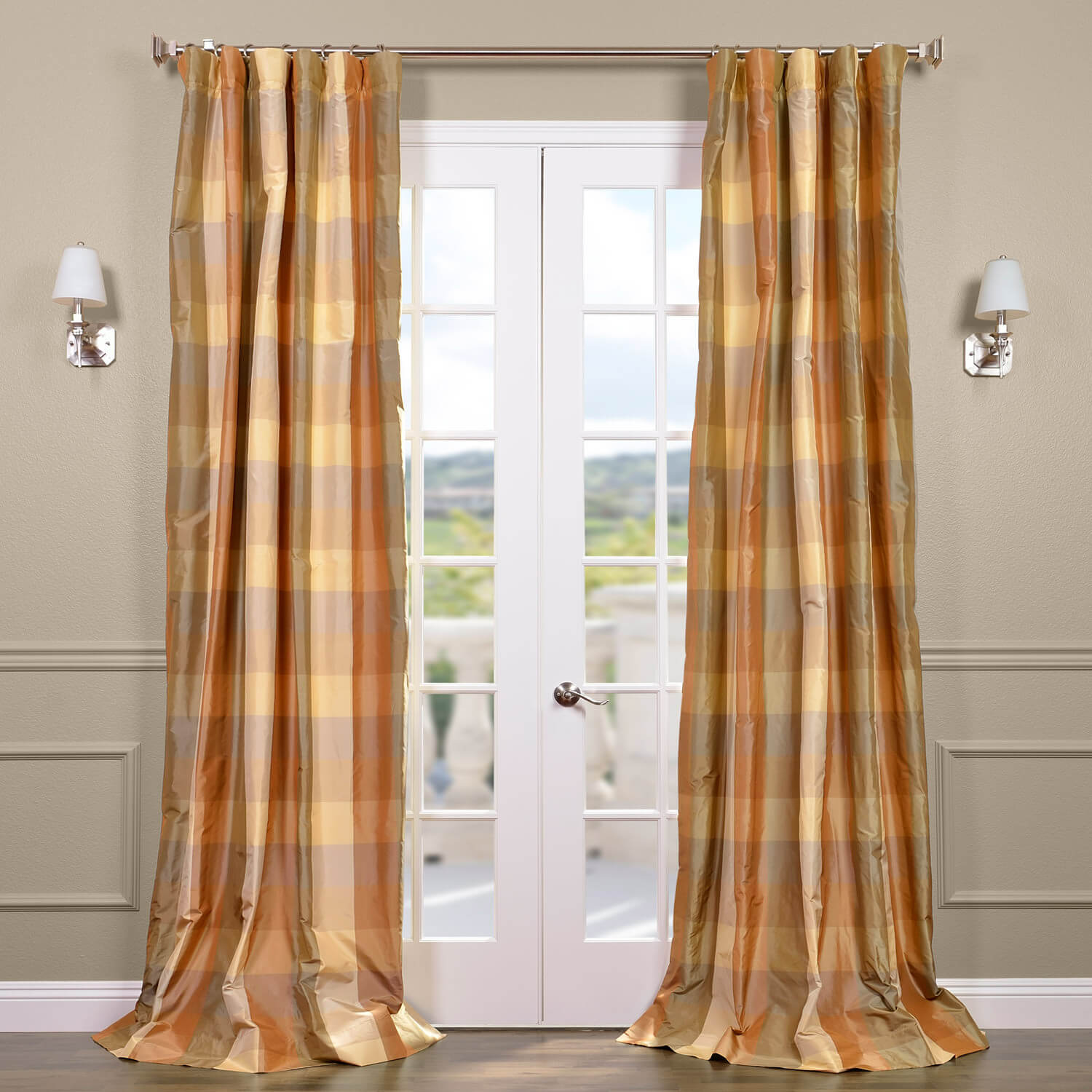 Genoa Silk Taffeta Plaid Curtain