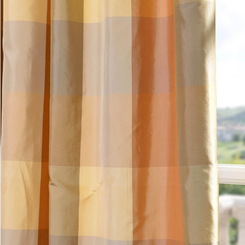 Shop Genoa Silk Taffeta Plaid Curtains Drapes