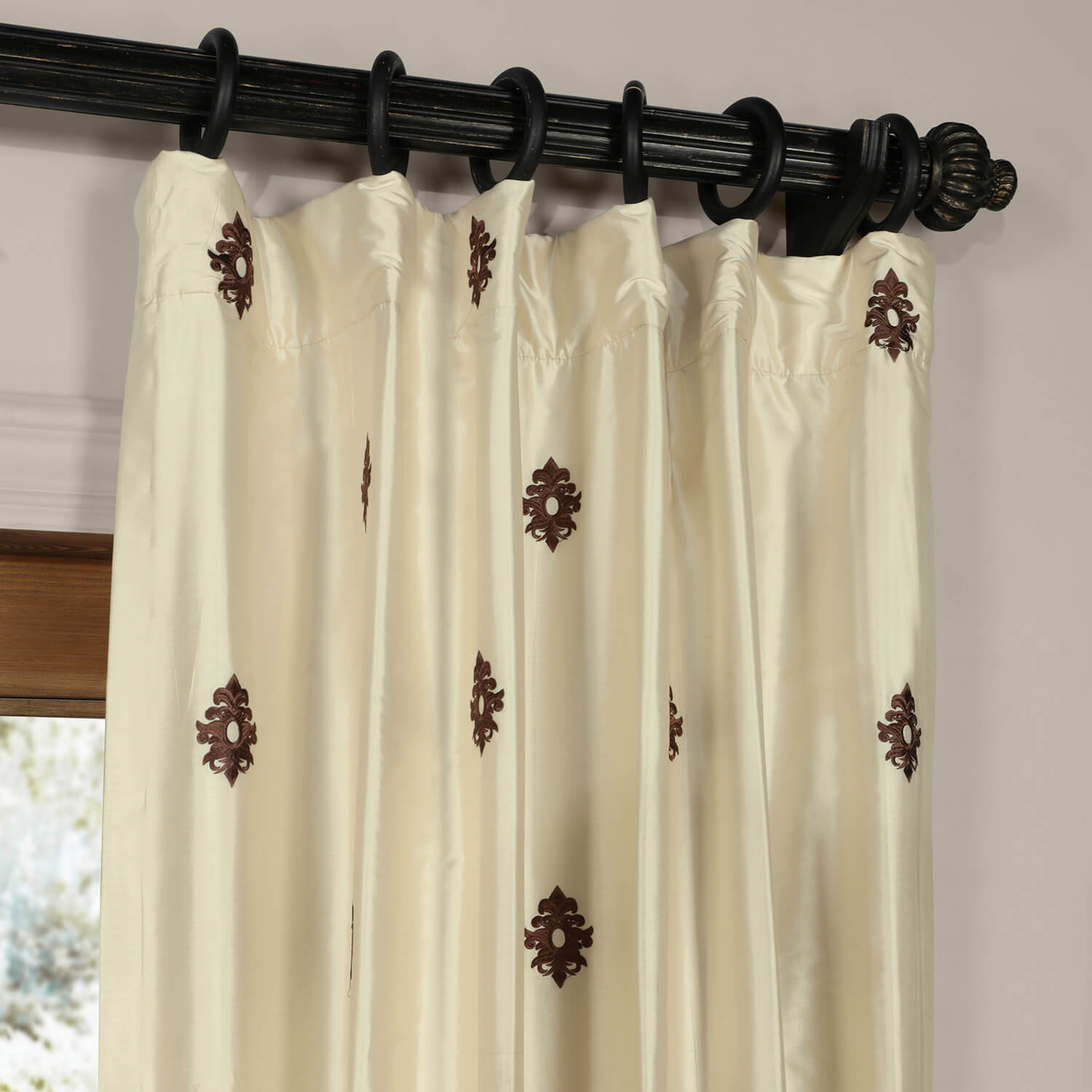 Mirror Pearl White Silk Curtain