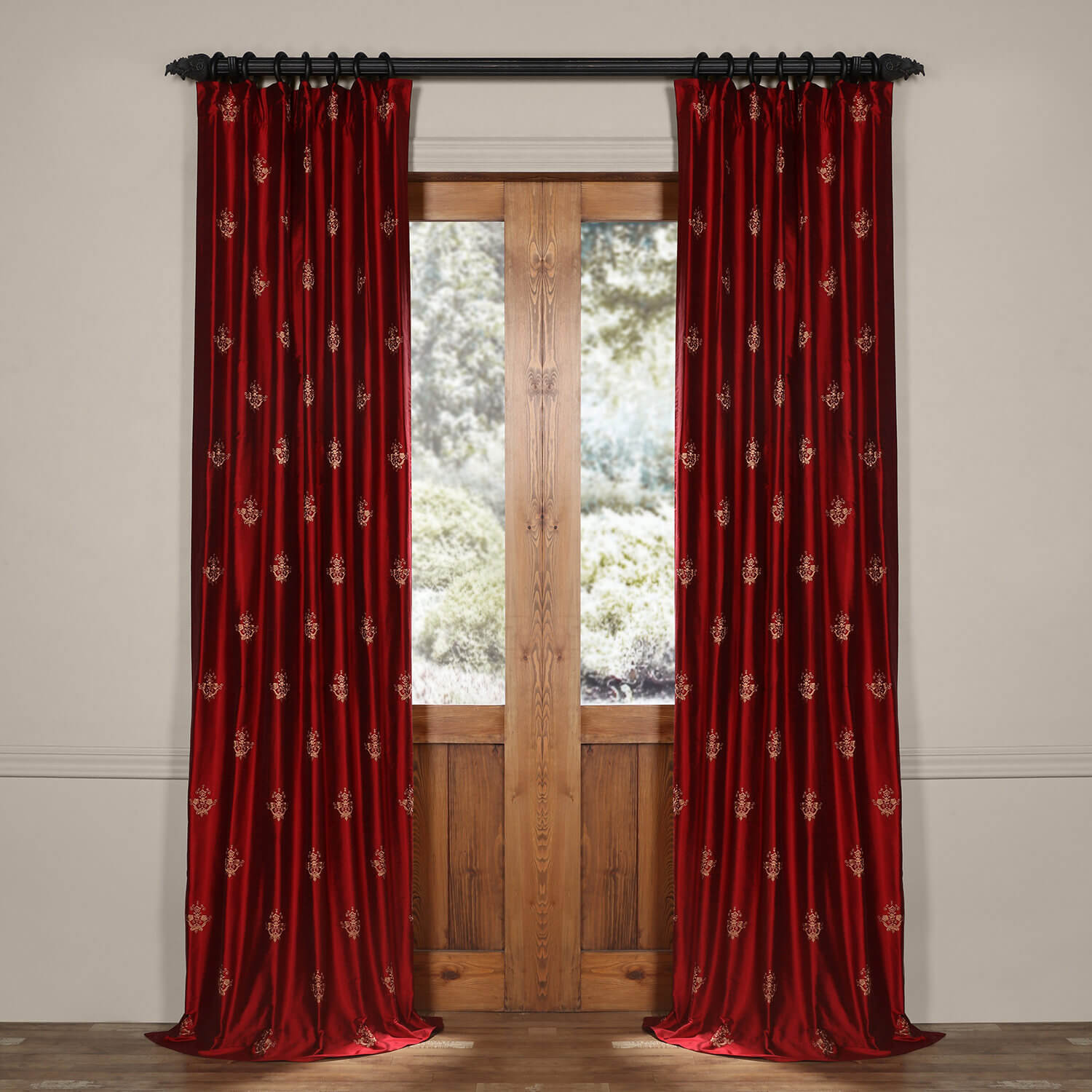Trophy Bold Red Silk Curtain