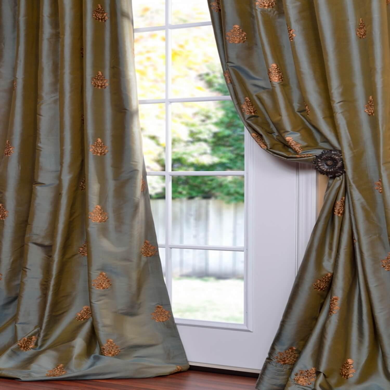 Trophy Sea Blue Thai Silk Curtain