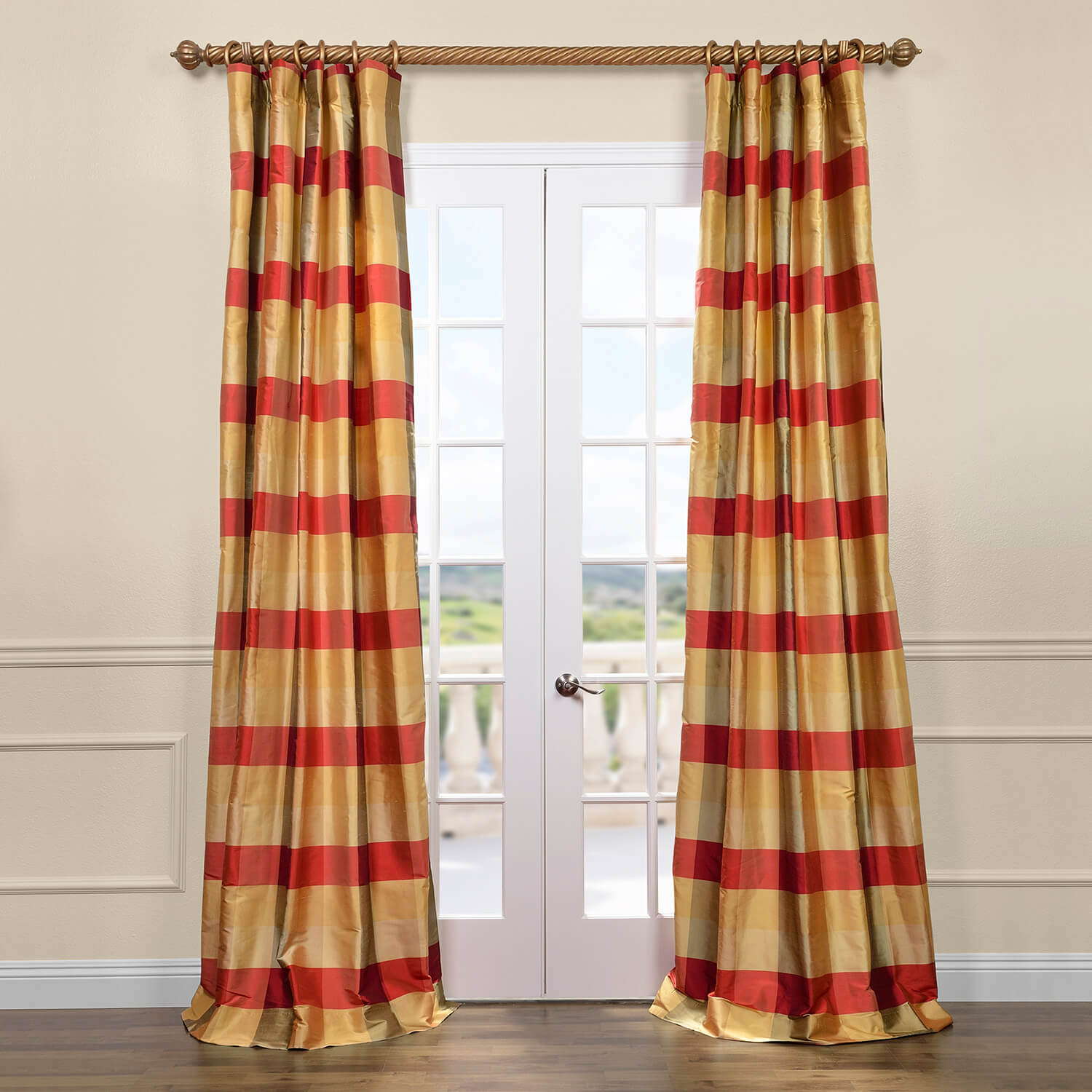 Red plaid curtains - Dynasty Silk Taffeta Plaid Curtain
