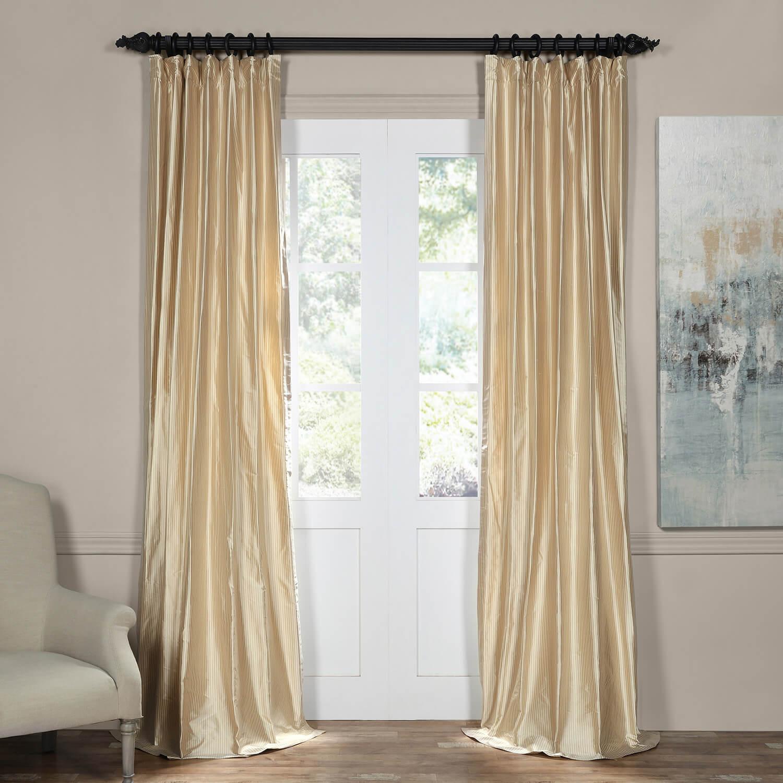 Cambridge Taupe Silk Stripe Curtain Designer Curtains