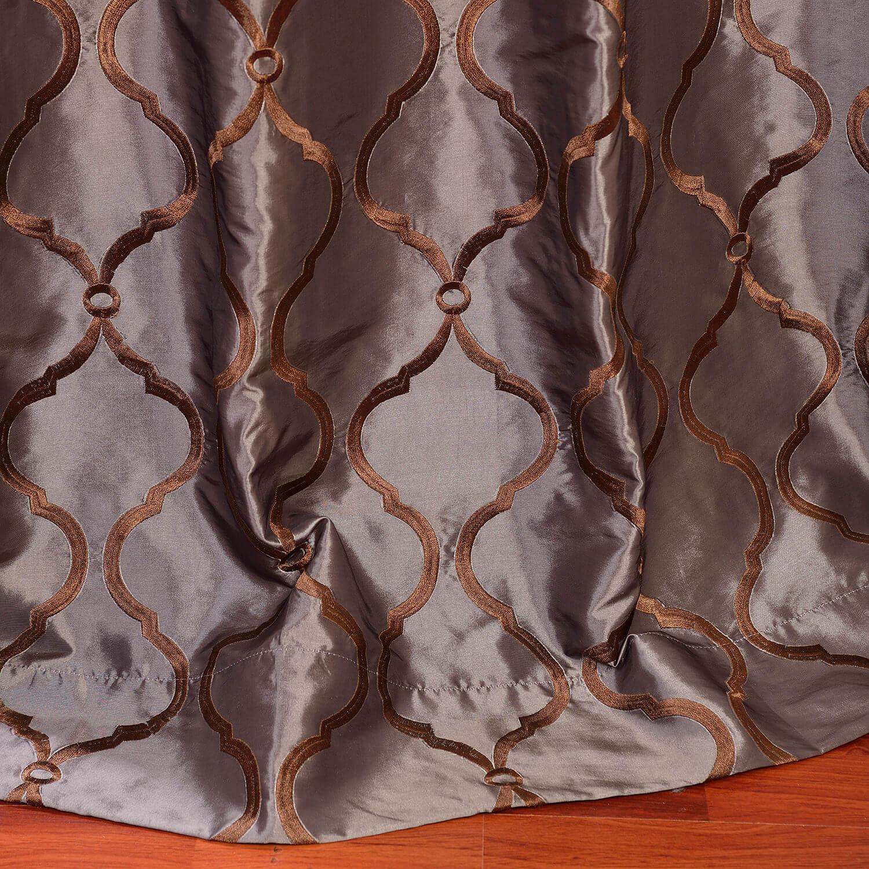 Tunisia Smoke Embroidered Faux Silk Curtain