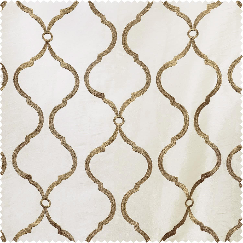 Tunisia Ivory Embroidered Faux Silk Taffeta Fabric