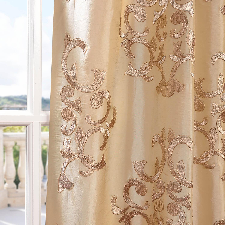 Ankara Champagne Embroidered Faux Silk Curtain