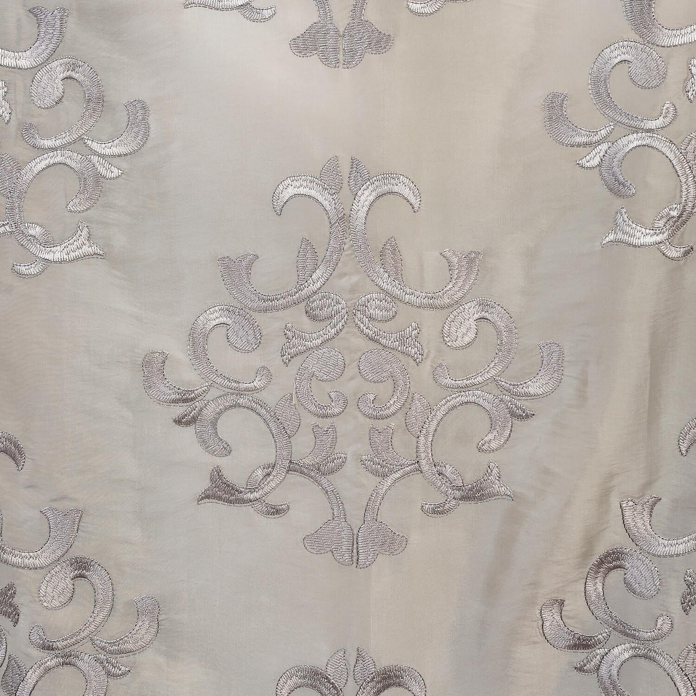 Ankara Silver Embroidered Faux Silk Taffeta Fabric