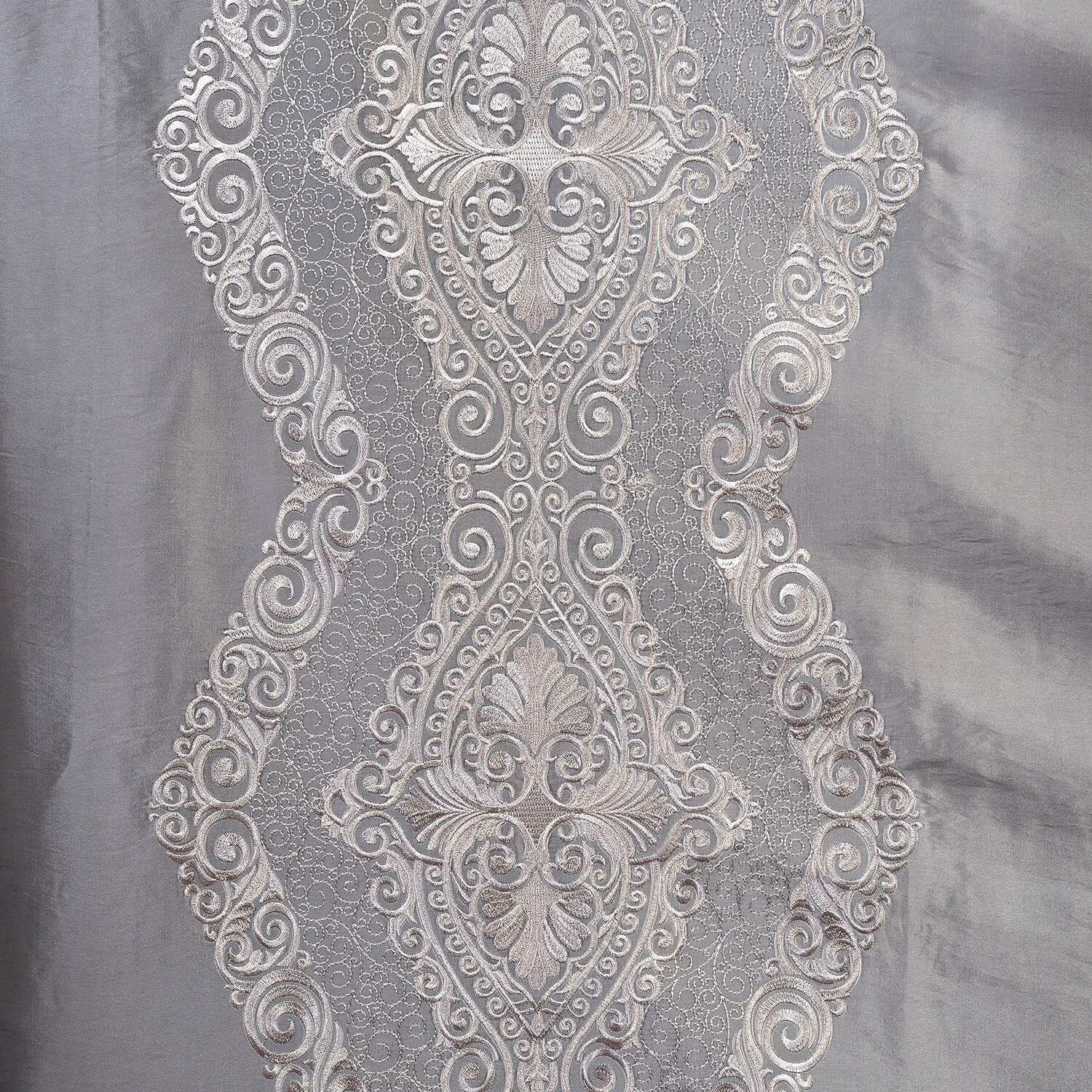 Chai Silver Embroidered Faux Silk Taffeta Swatch