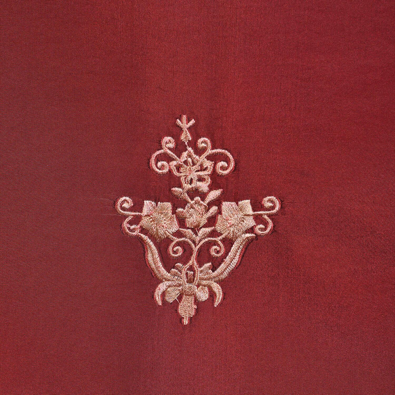 Trophy Syrah Embroidered Faux Silk Taffeta Fabric