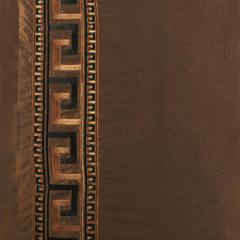 Greco Copper Embroidered Faux Silk Fabric