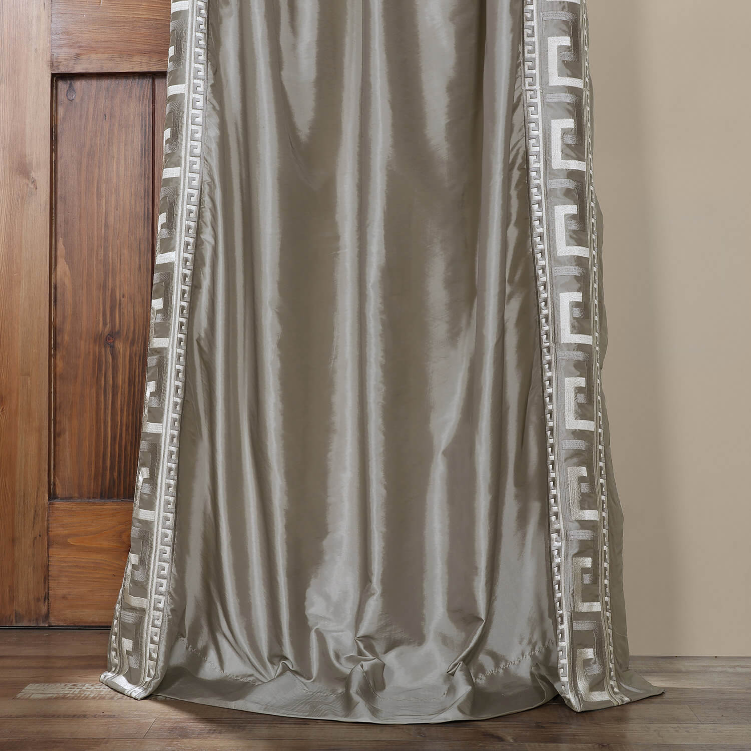Greco Platinum Embroidered Faux Silk Curtain