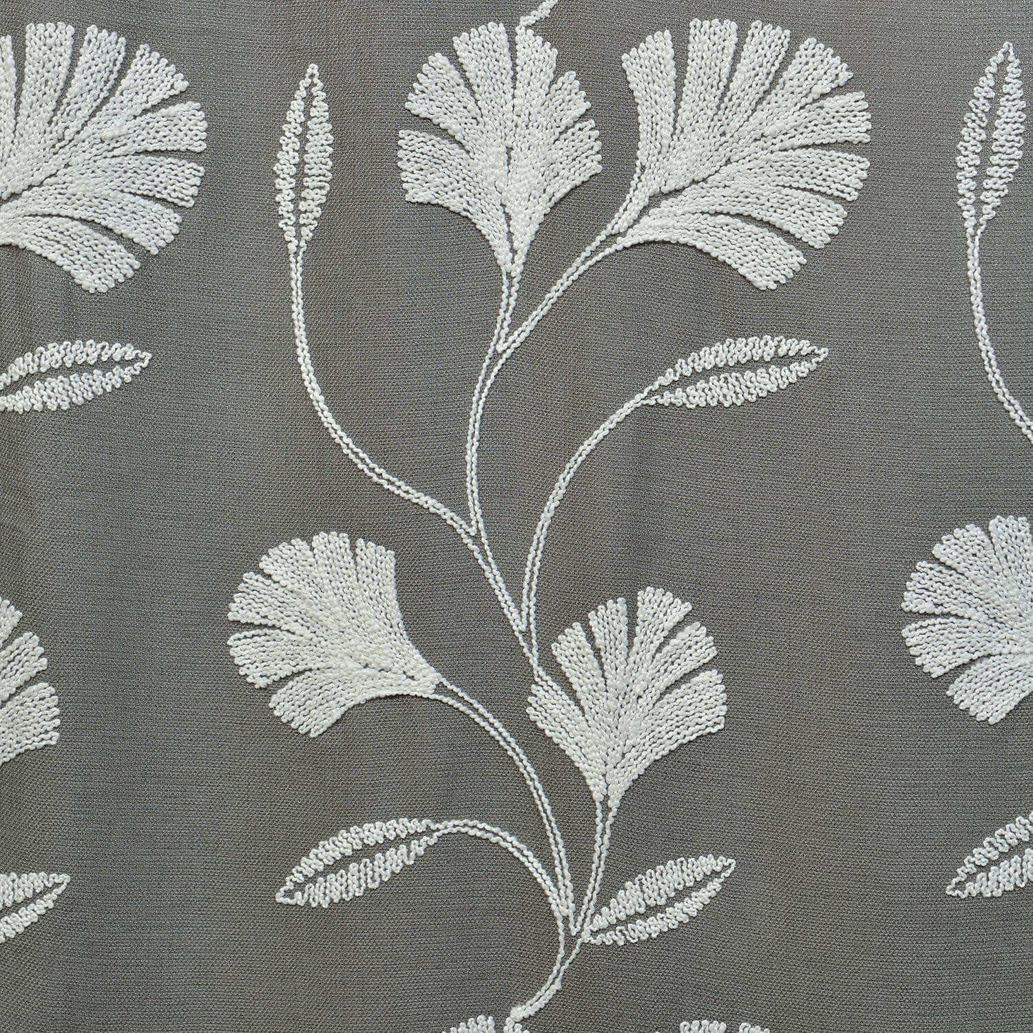 Ginko Grey Embroidered Crewel Faux Linen Swatch