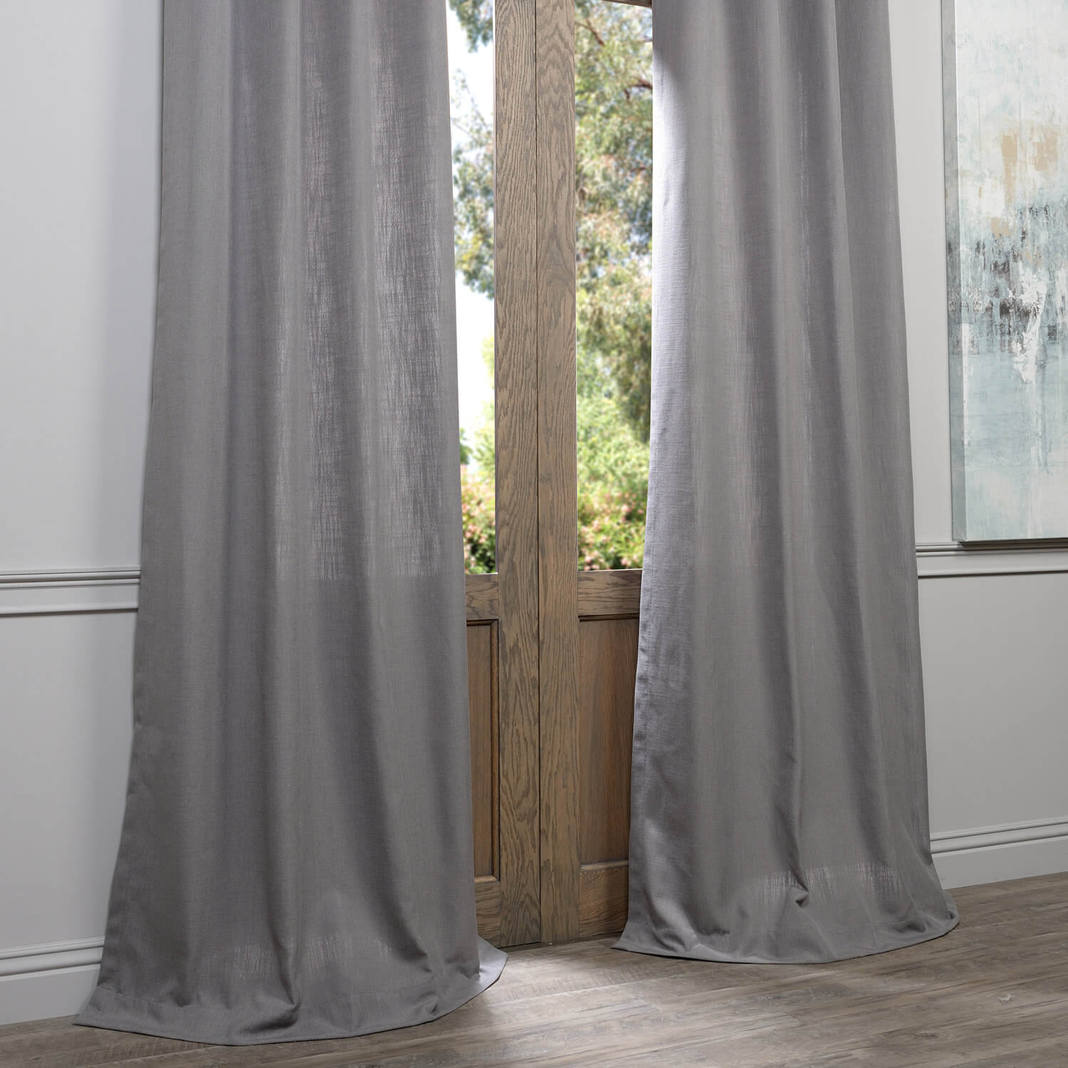 Pewter Grey Grommet Heavy Faux Linen Curtain