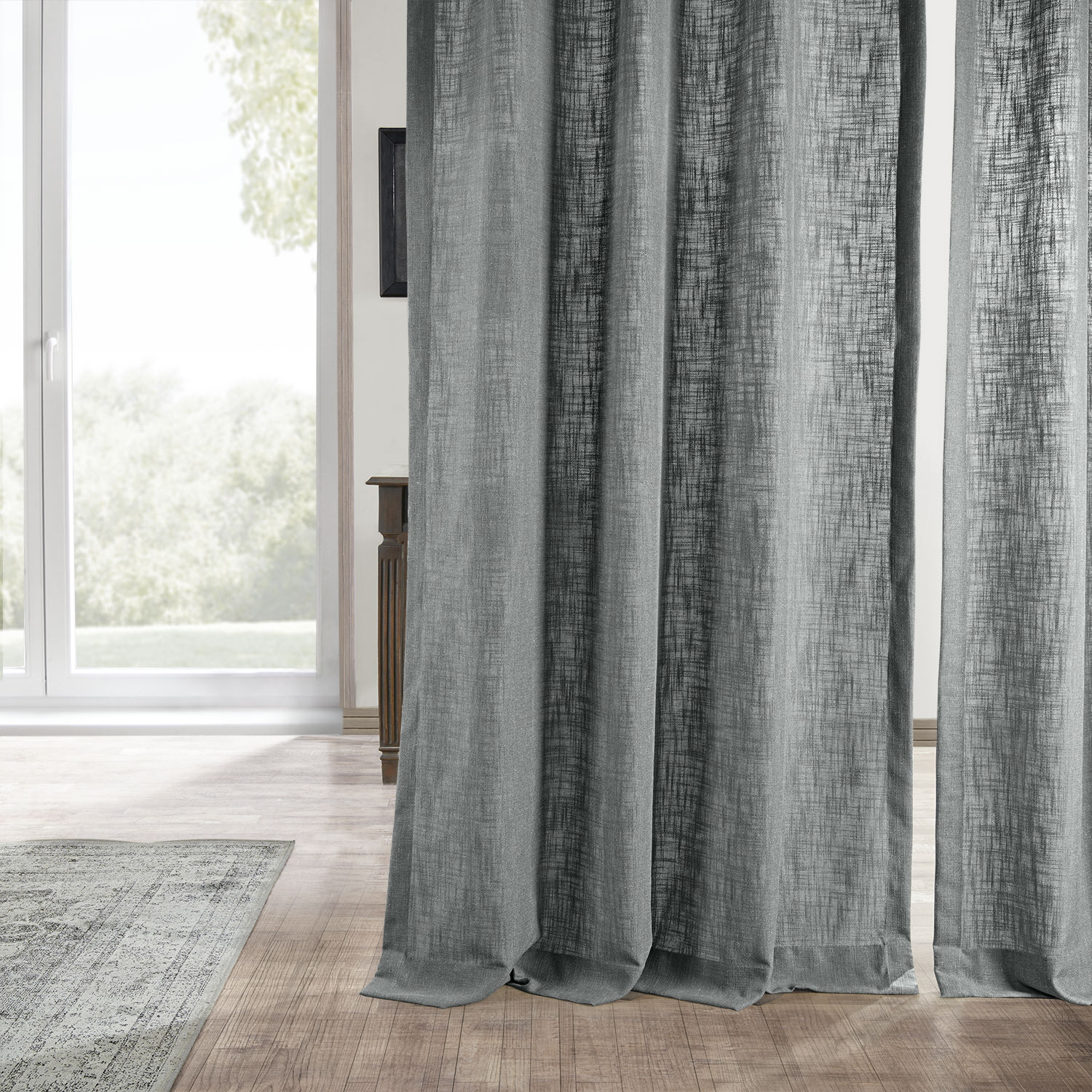 Buy Pewter Grey Heavy Faux Linen Curtain Drapes