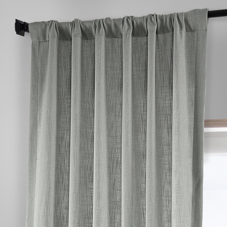 Ash Grey Heavy Faux Linen Curtain