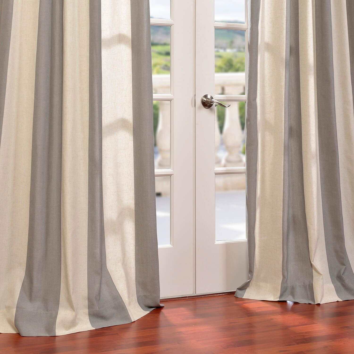 Del Mar Gray Linen Blend Stripe Curtain