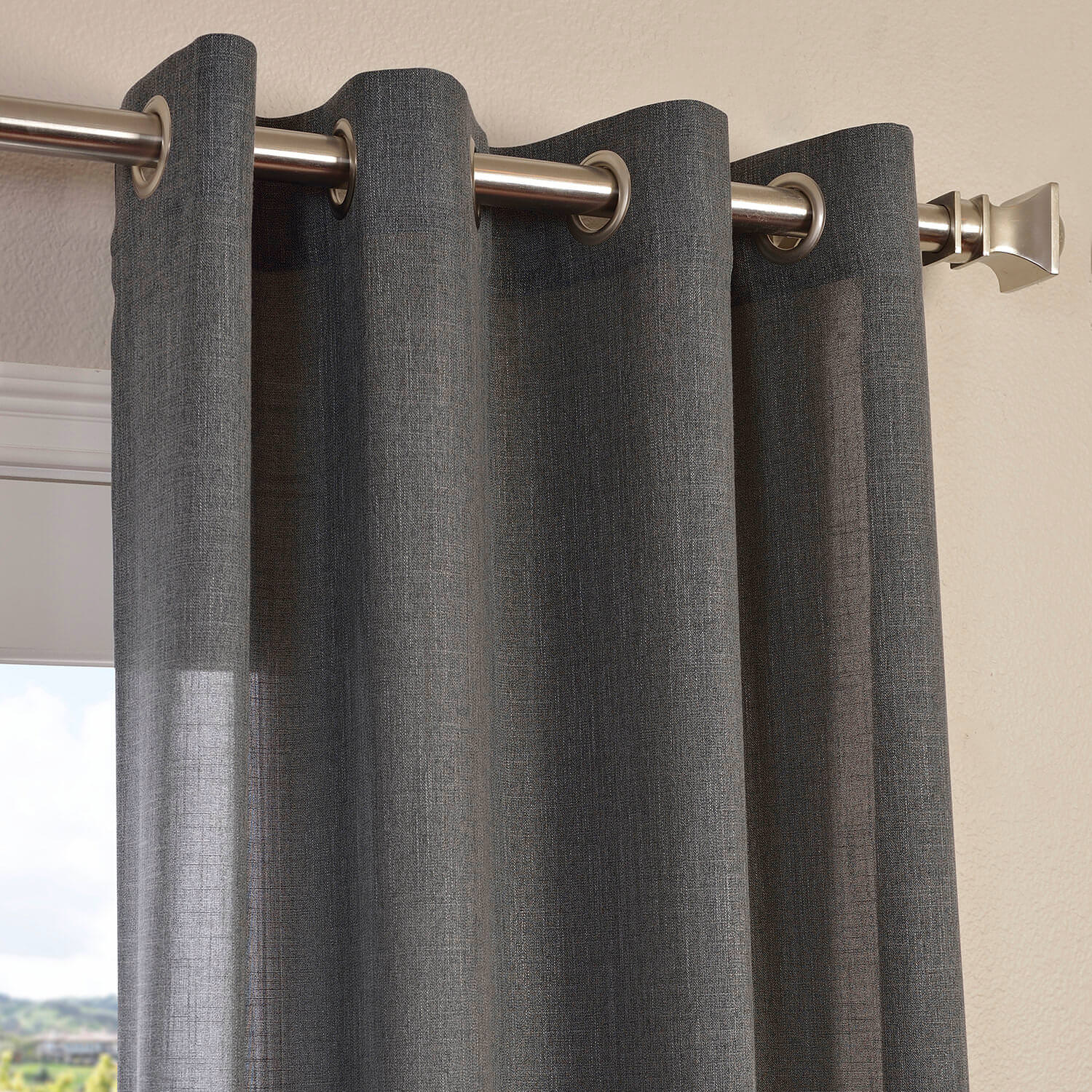 Buy Phantom Grey Faux Linen Grommet Semi Sheer Curtain
