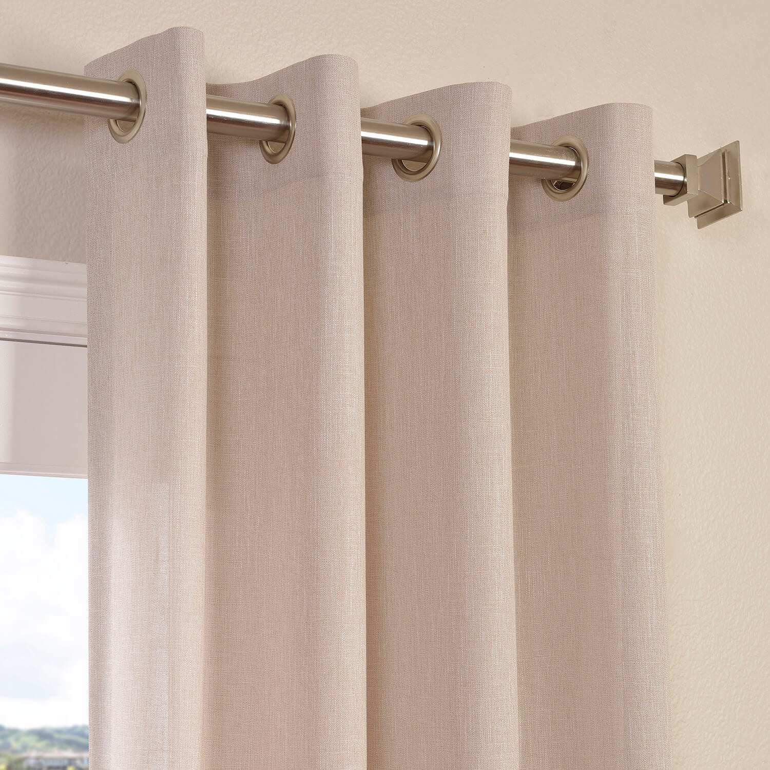 Pebble Rock Faux Linen Grommet Semi Sheer Curtain