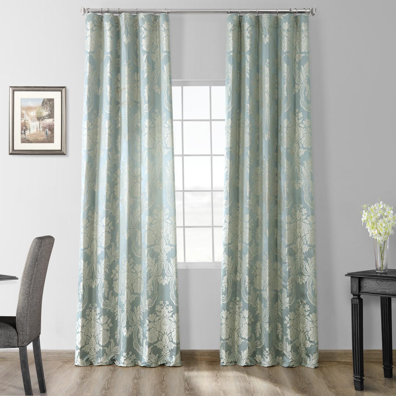 Magdelena Steel Blue Amp Silver Faux Silk Jacquard Curtain