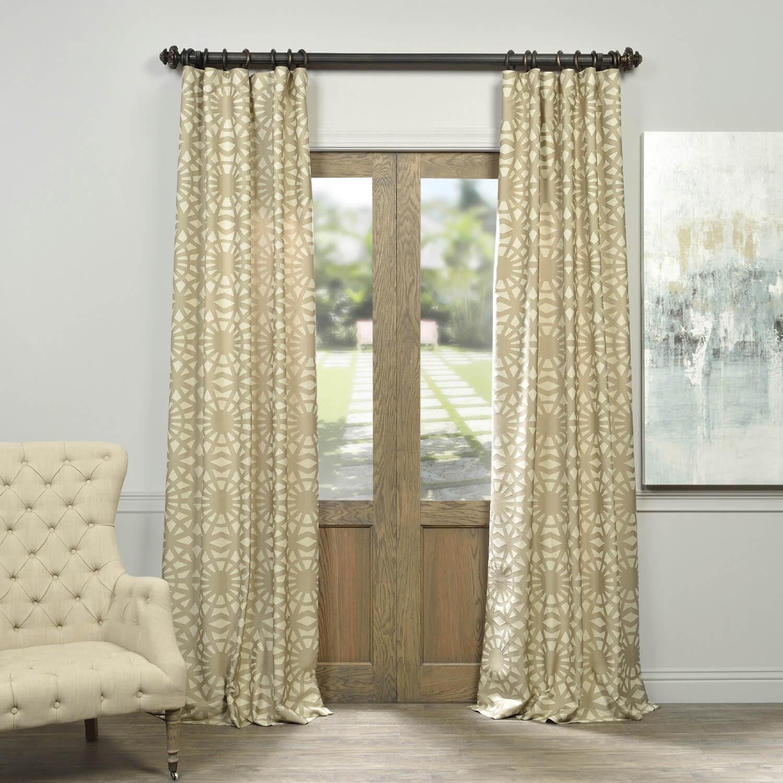 Lanaii Taupe Faux Silk Jacquard Curtain