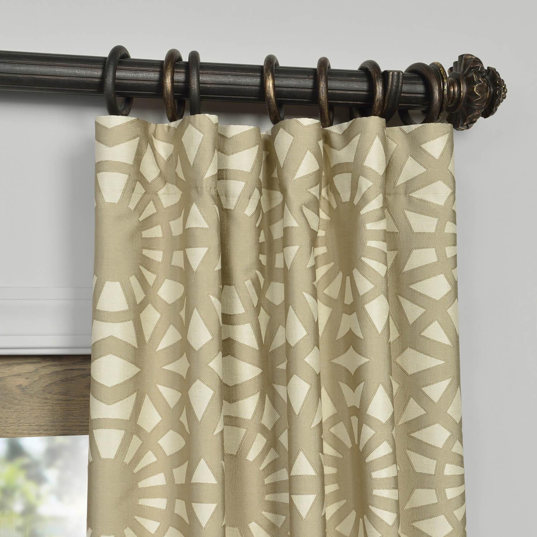 Unique Lanaii Taupe Jacquard Curtain And Drapes