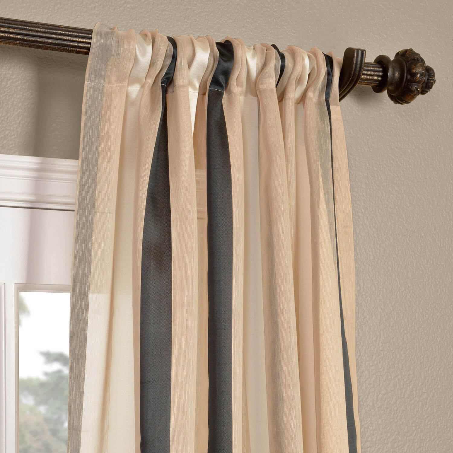 Linen Stripe Kitchen Curtains: Carlton Natural Linen Blend Stripe Sheer Curtains